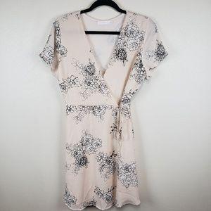 LUSH floral wrap dress in light blush pink